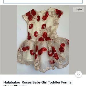 Halabaloo  Roses Baby Girl Toddler Dress 12monsc